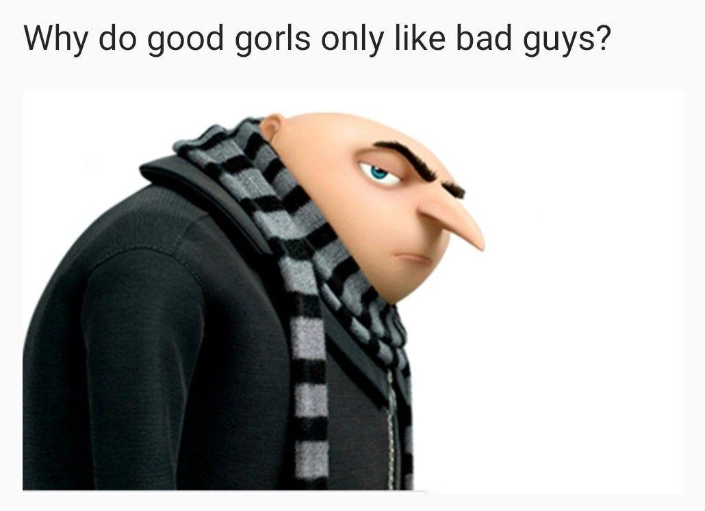Why Do Good Gorls Only Like Bad Guys Tiktok Tiktok Funny Gru Meme Despicable Me Memes Really Funny Memes Gru Meme