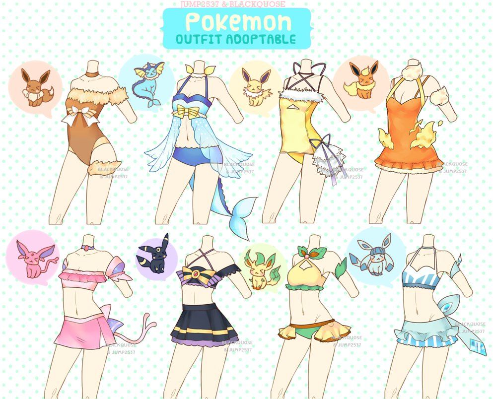 Eeveelution Swimsuits Drawing Clothes Art Clothes Anime Outfits
