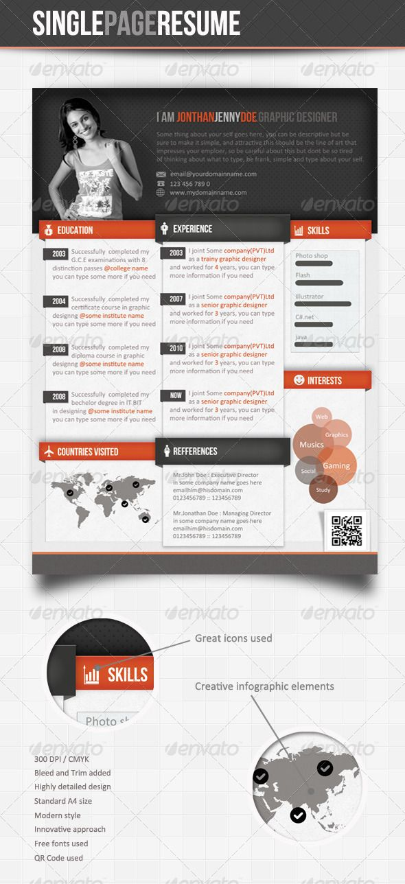 Info-graphic Single Page Resume Graphic resume, Infographic and - single page resume