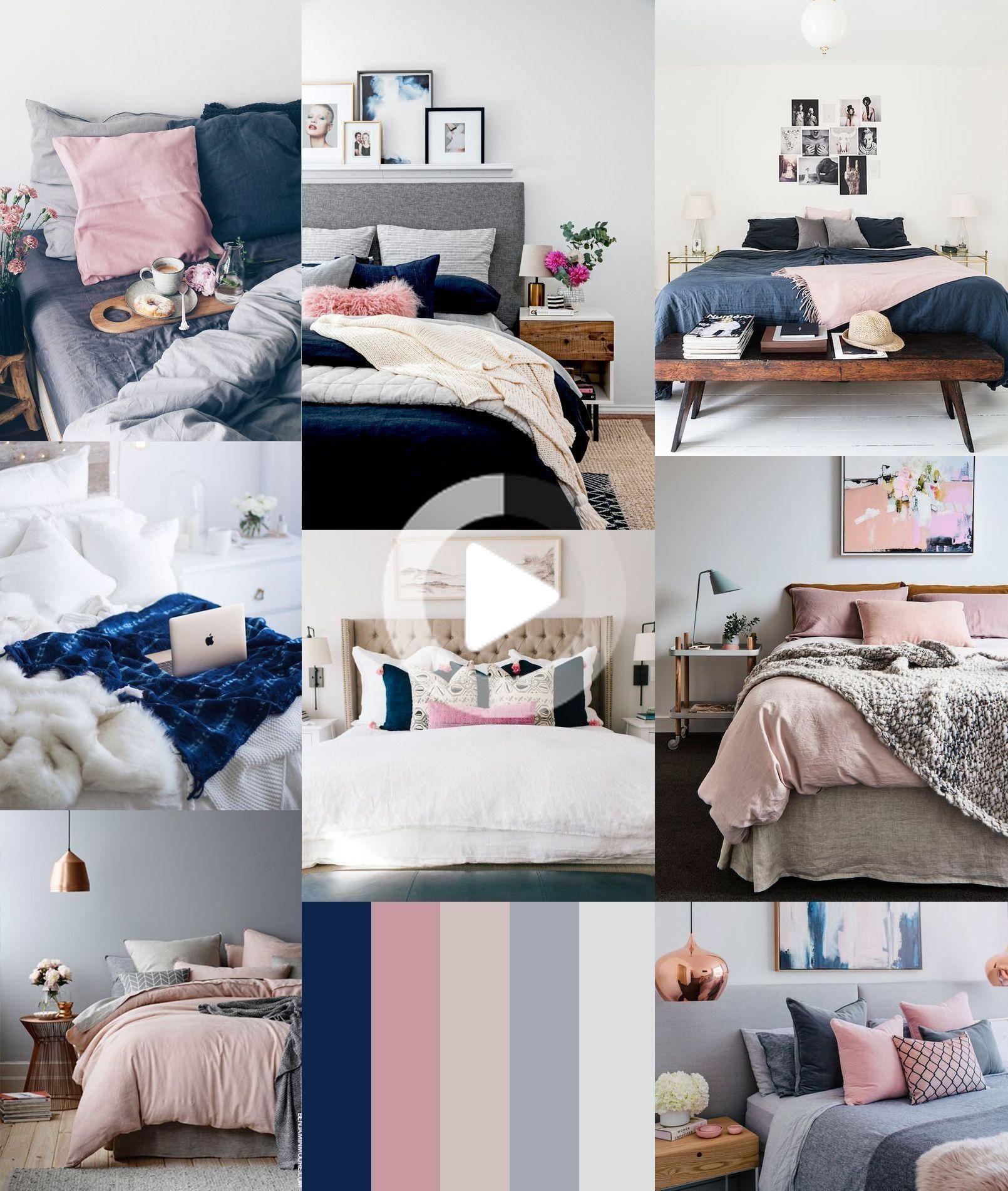 Navy And Pink Bedroom Bedroom Navy Pink In 2020 Blue And Gold Bedroom Blue Bedroom Paint Blue Master Bedroom