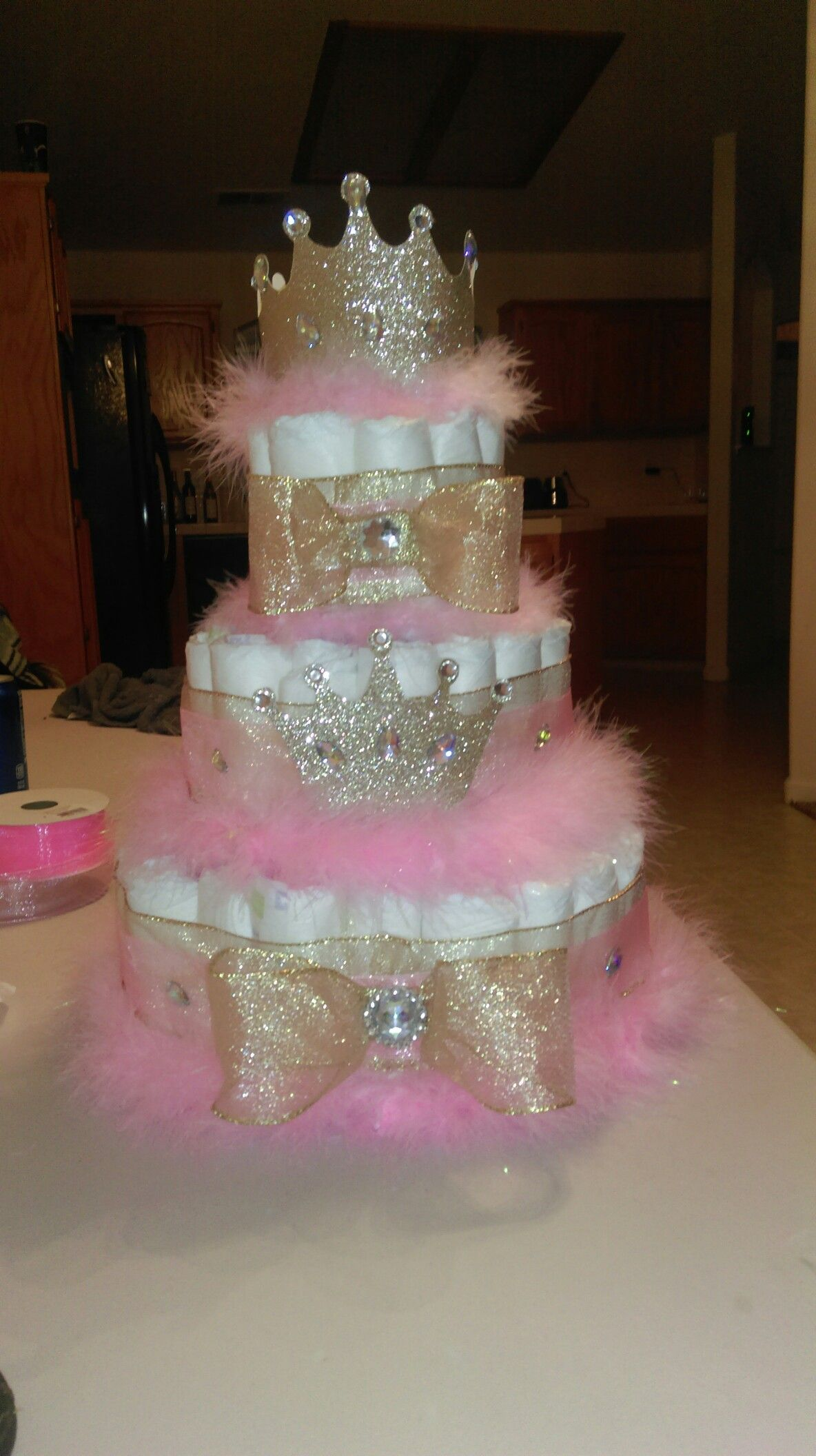 Diaper cake for a princess baby shower baby shower