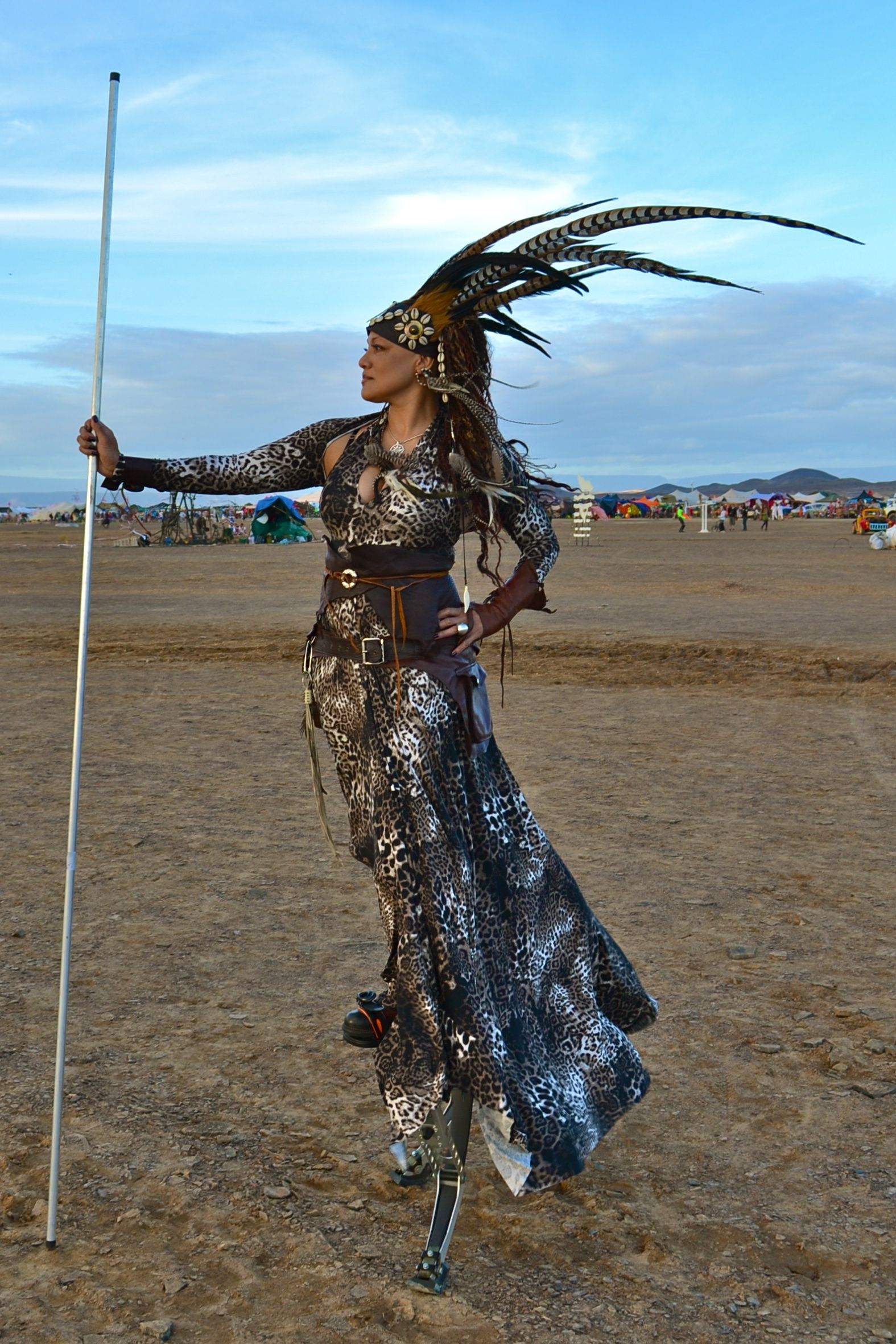 Feather Head Dress And Outfit I Made For Afrika Burn Burning