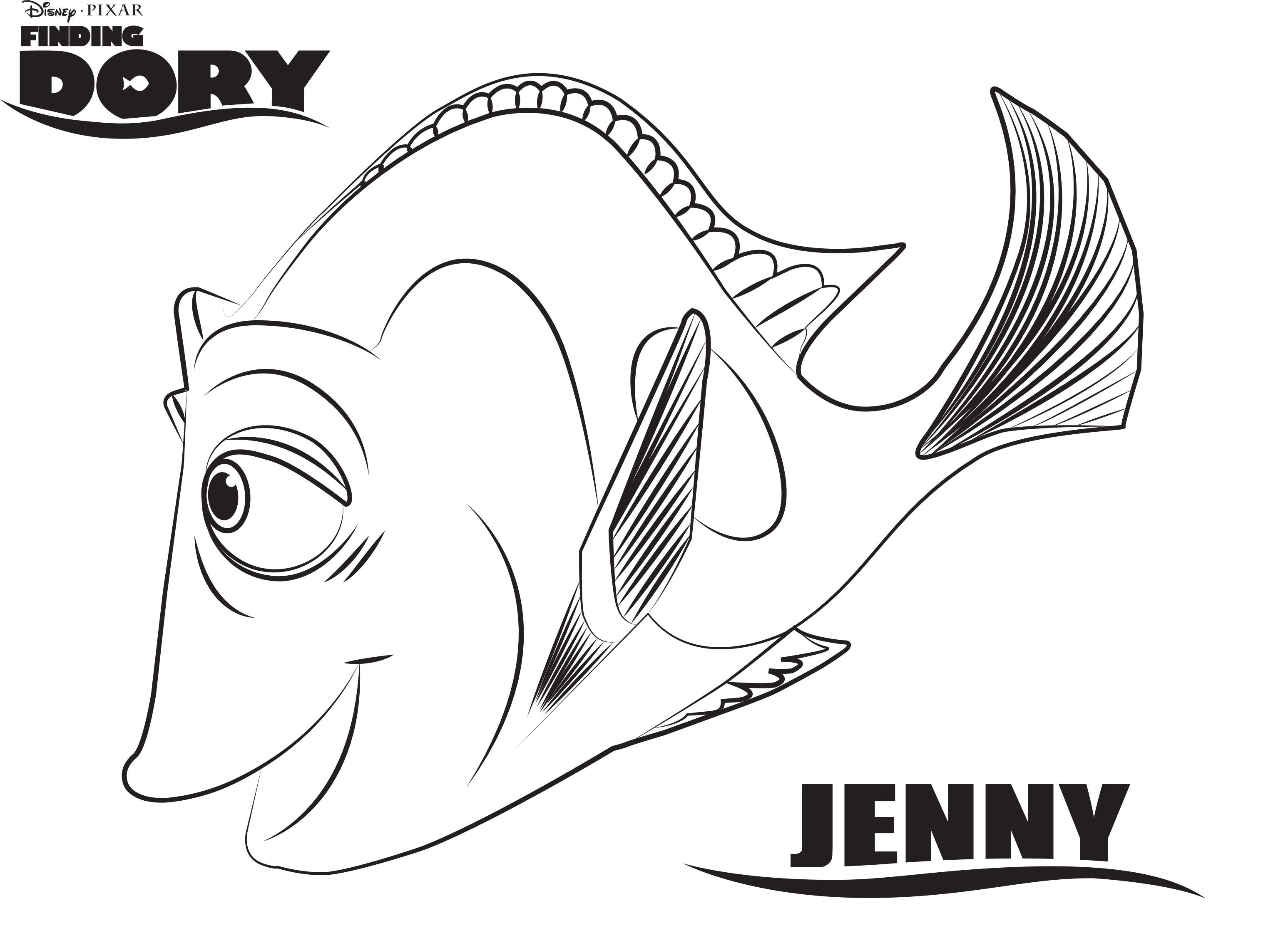 disneys finding dory jenny coloring page