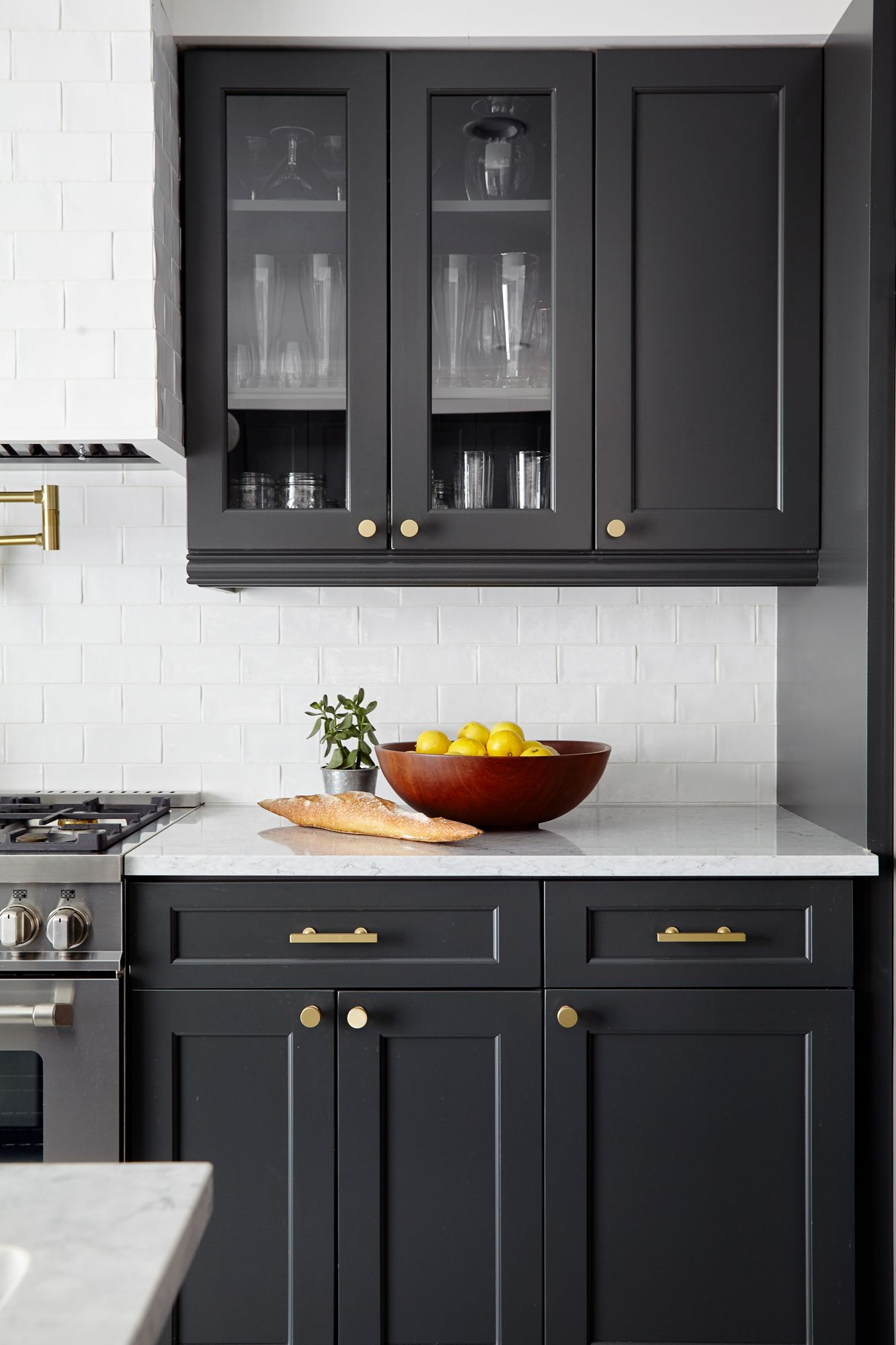 Best Renovated Kitchen With Charcoal Gray Cabinetry Brass 400 x 300