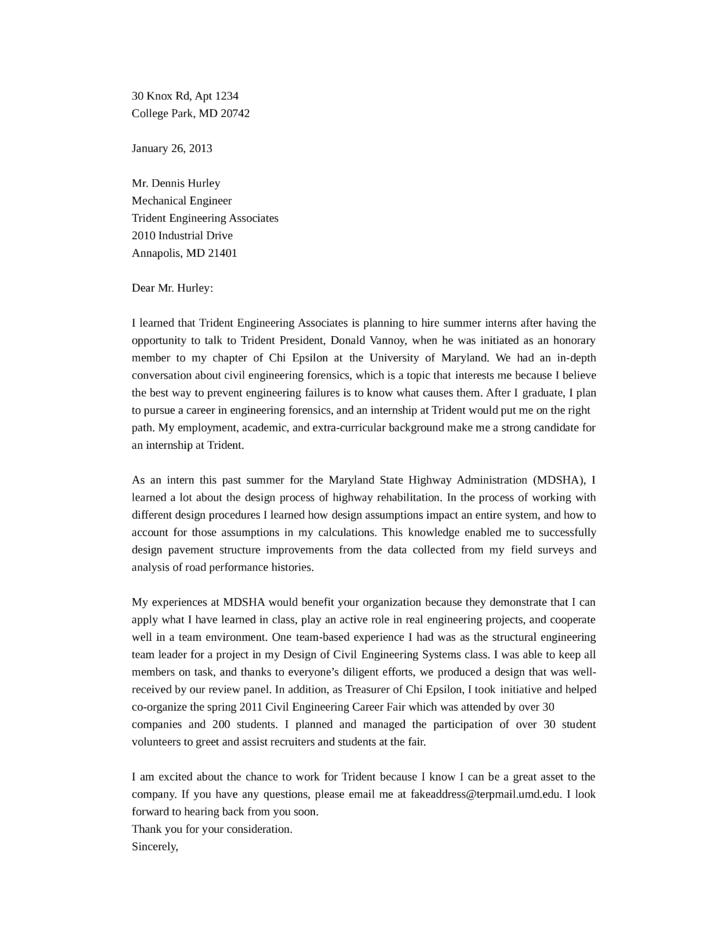 Mechanical Engineering Cover Letter Glamorous Job Application Letter ...