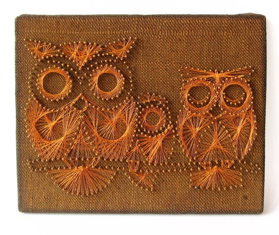 Mid century nail and string art owl mid century modern wall art mid century nail and string art owl mid century modern wall art owl decor prinsesfo Gallery