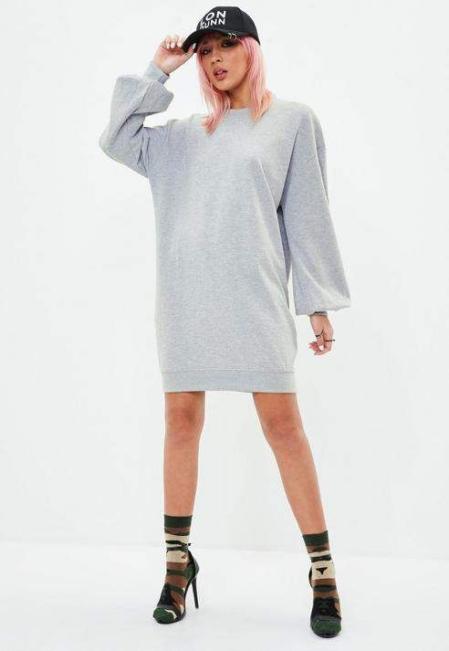 c33c4849545 Missguided Gray Balloon Sleeve Sweater Dress