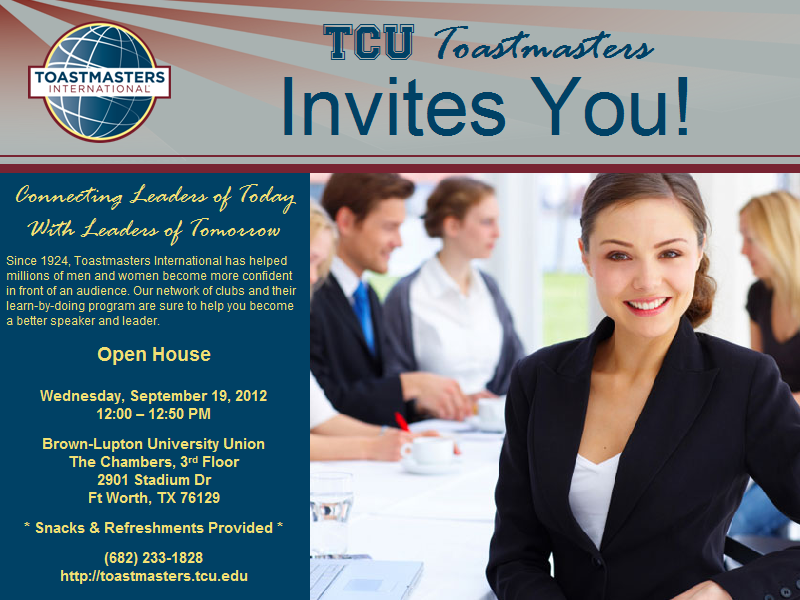 Tcu Toastmasters Fall Open House Open House Invitation Open House Invitation Template