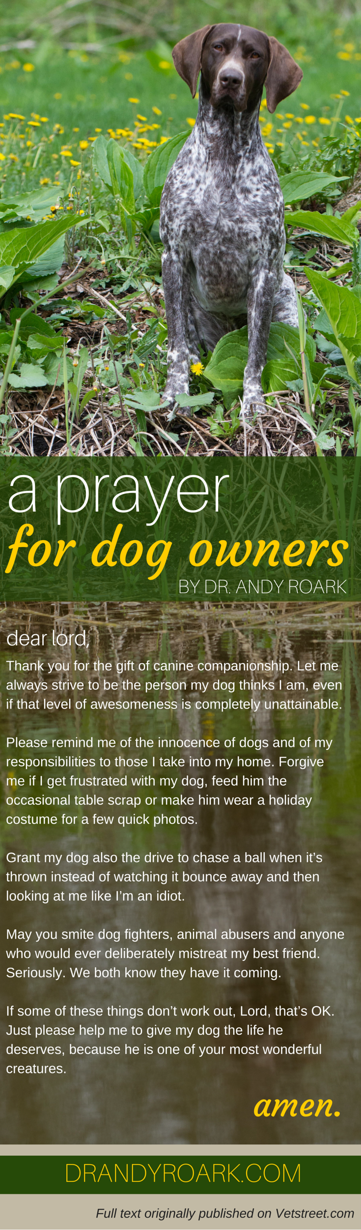 Dr. Andy Roark's prayer for dog owners. Share with any