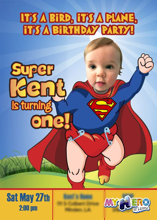 Baby Superman Birthday Invitation with your little boy as Super baby