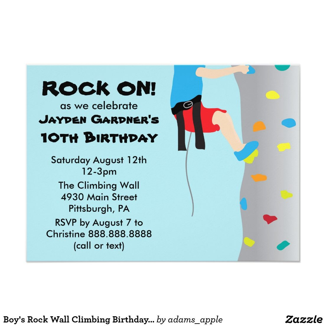 Boy\'s Rock Wall Climbing Birthday Party Card