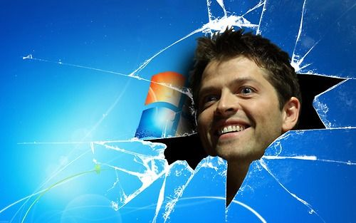 #my #new #wallpaper #thanks #fellow #tumblr #user Castiel breaks through your laptop/computer screen! Misha Collins Supernatural