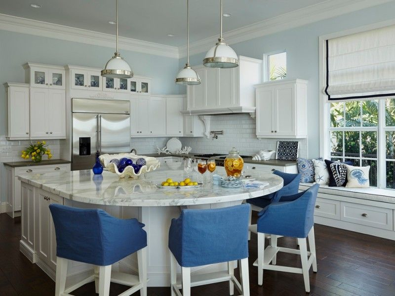 Download Wallpaper White Kitchen Island With Seating For 4