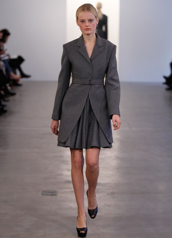 Calvin Klein Wool Felt Single Ted Coat Over A Sleeveless Dress Of The Same Fabric
