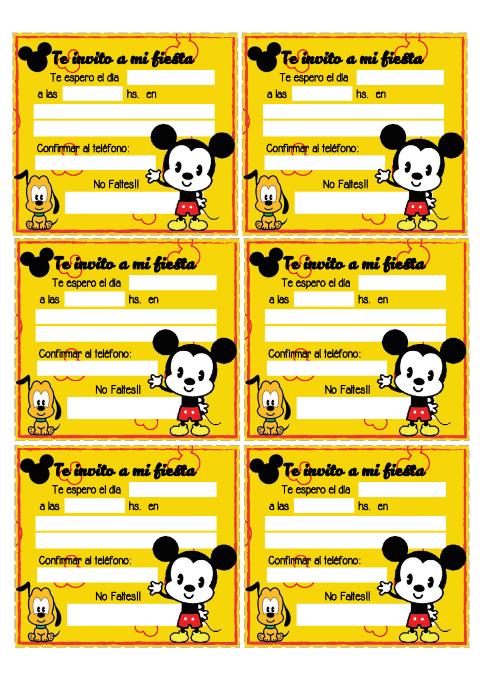 Mickey Mouse Tarjetas De Cumple Para Imprimir