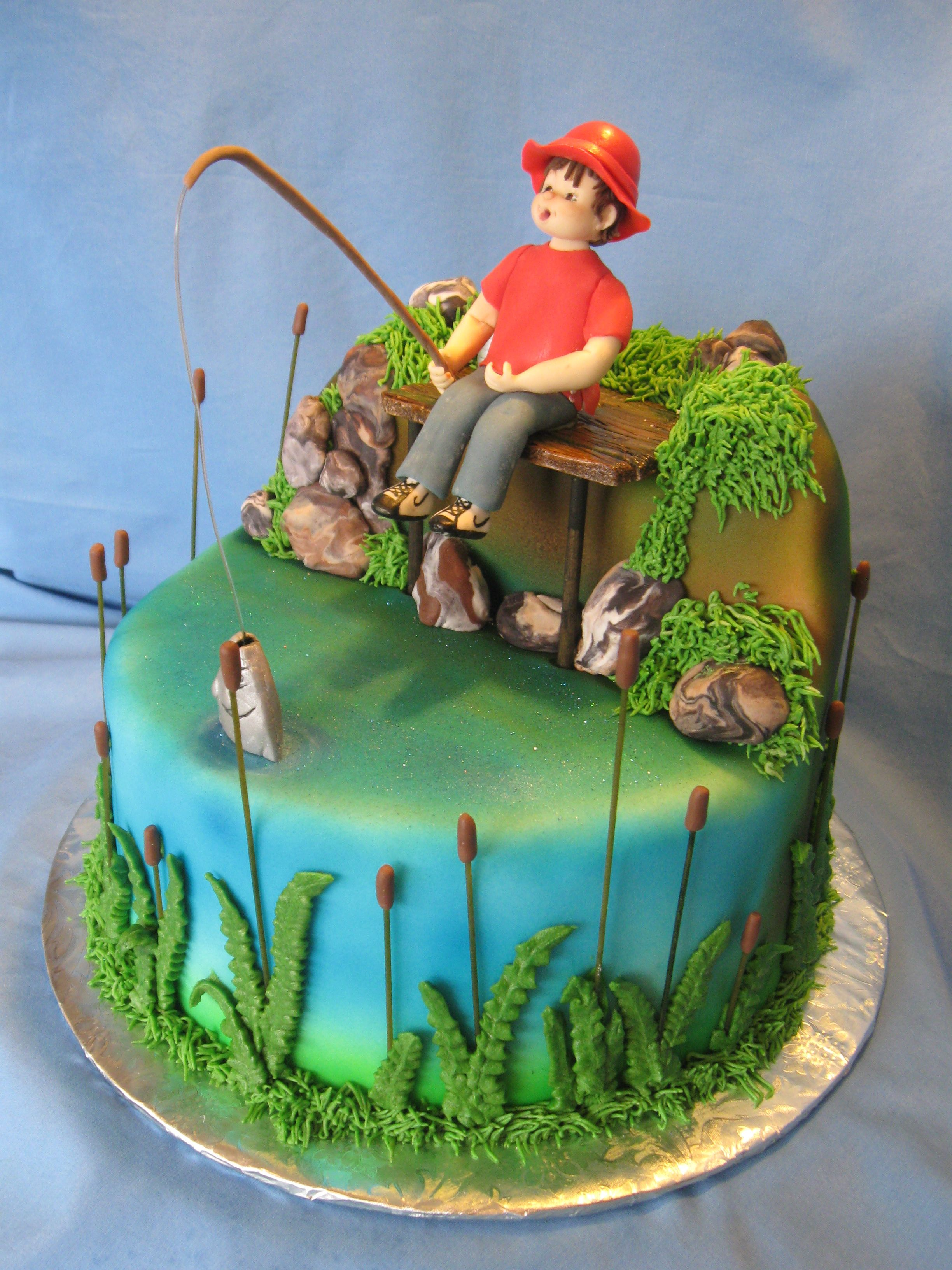 Boys Fishing Themed Birthday Cake Baking Pinterest Birthday