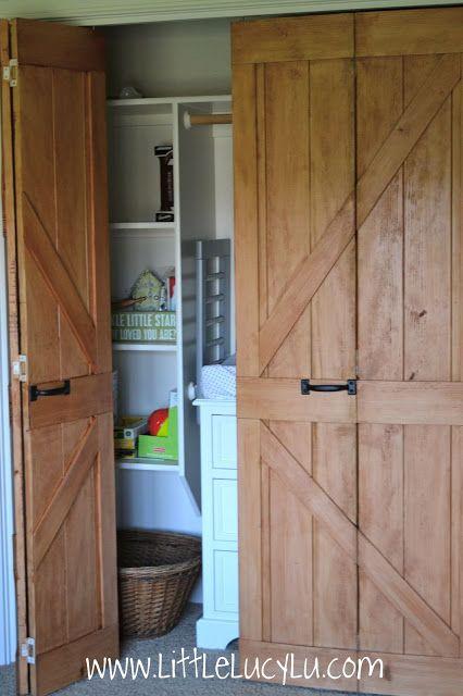 Little Lucy Lu From Bi Fold To Barn Doors Max S Closet Closet Door Makeover Bifold Barn Doors Old Closet Doors