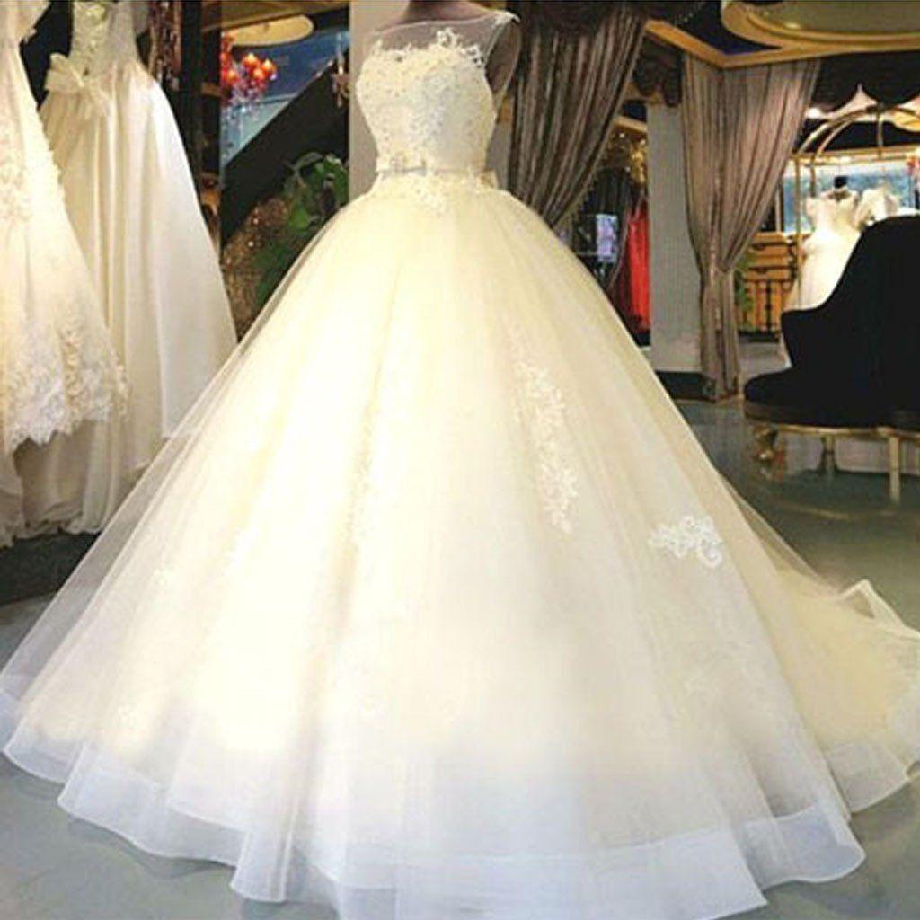 Cheap popular stunning ivory lace top aline wedding dresses bridal