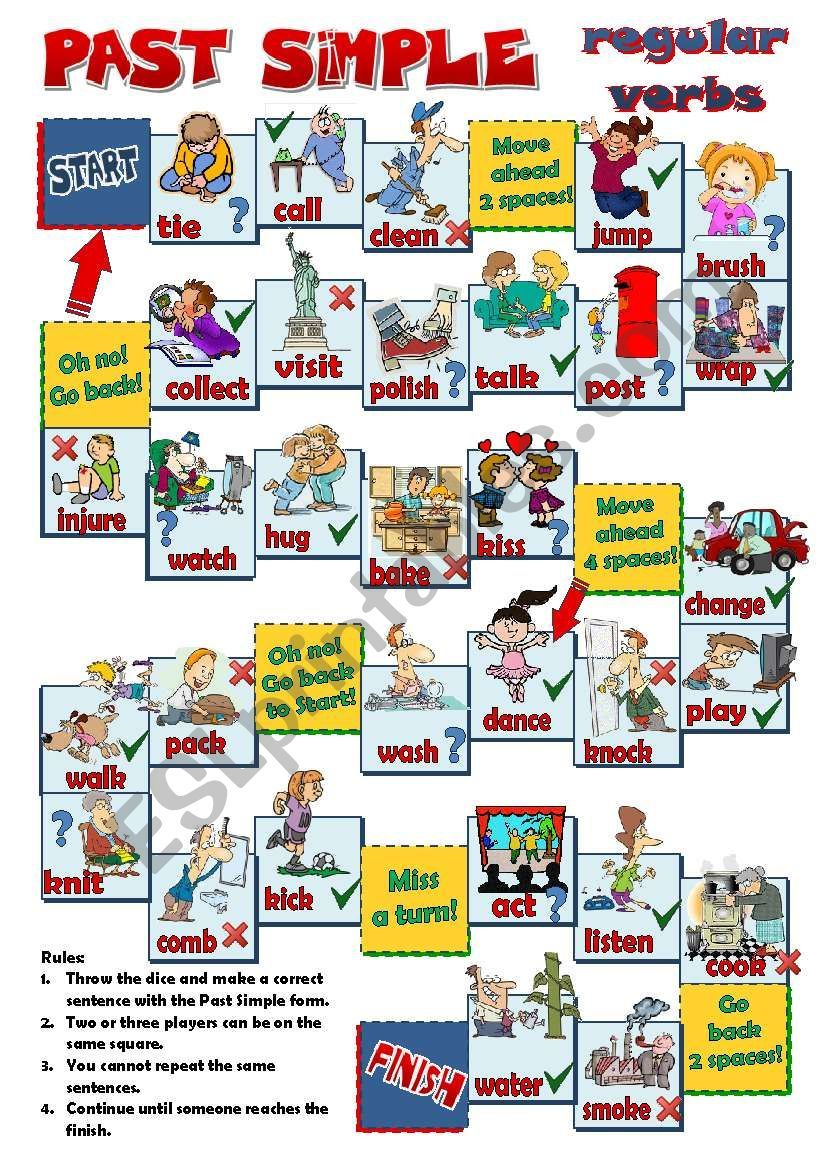A Board Game To Practise Past Simple Regular Verbs Students Have To Make Affirmative Negative Or Interroga Regular Verbs Simple Past Tense English Activities [ 1169 x 821 Pixel ]