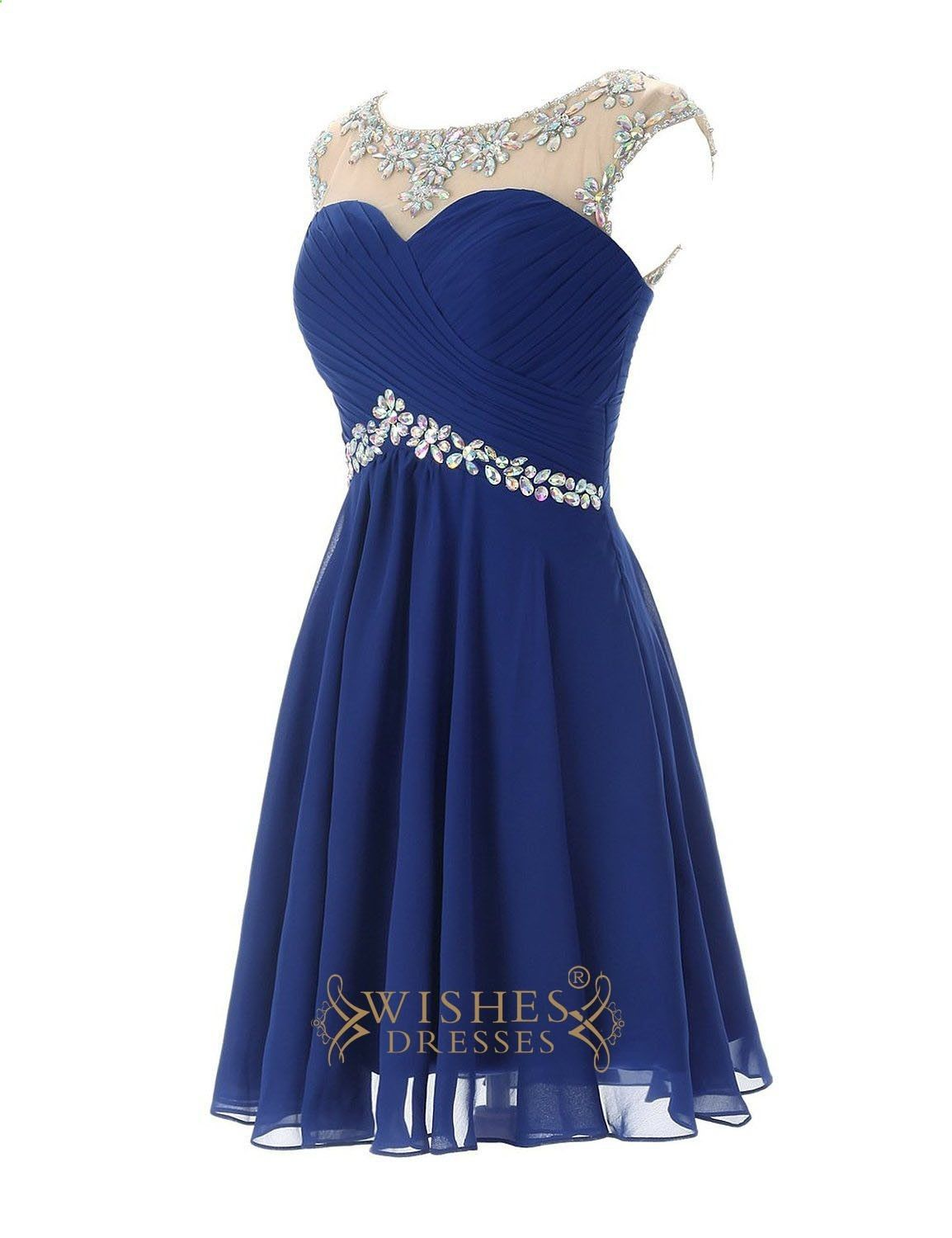 Sexy royal blue chiffon short cocktail dress prom dress