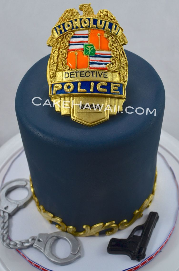 Admirable Honolulu Police Department Badge Cake Hawaii Wedding Cake Funny Birthday Cards Online Elaedamsfinfo