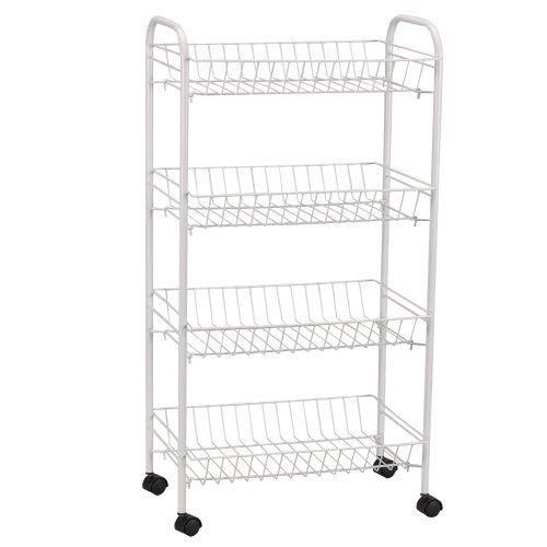 Household Essentials 4 Tier Metal Cart With Wheels White