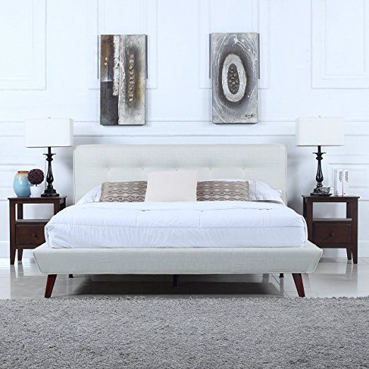 189 99 Free Shipping Mid Century Ivory Linen Low Profile Platform Bed Frame With Tufted Headboard Design Full