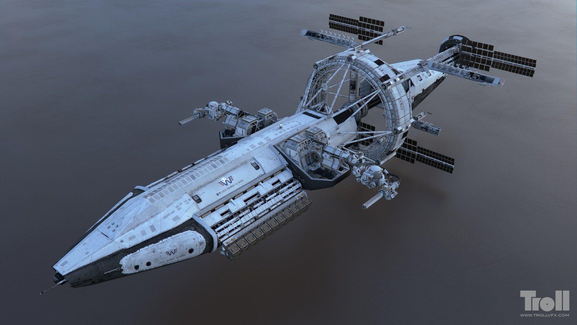 Artstation iron sky uss george w bush tuomas kankola for Space art design