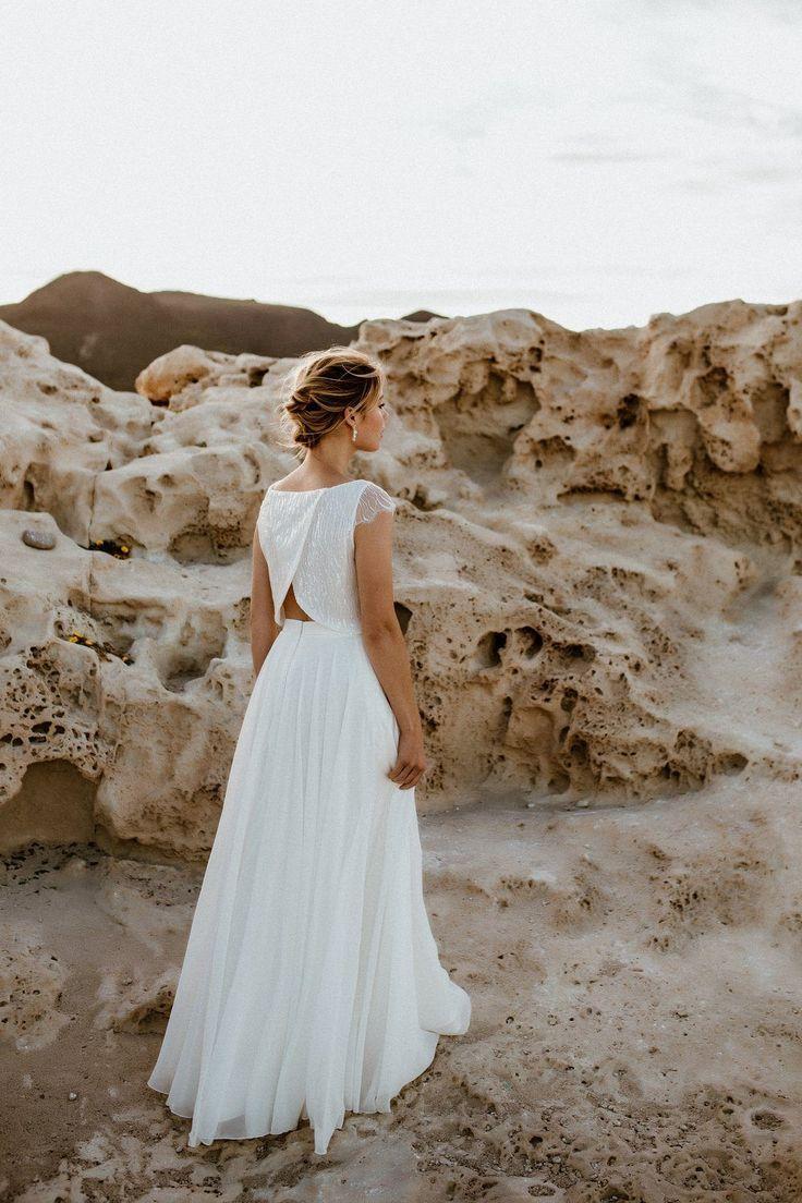 Kurzes Paillettentop mit Flügelärmeln zur Hochzeit - Isla