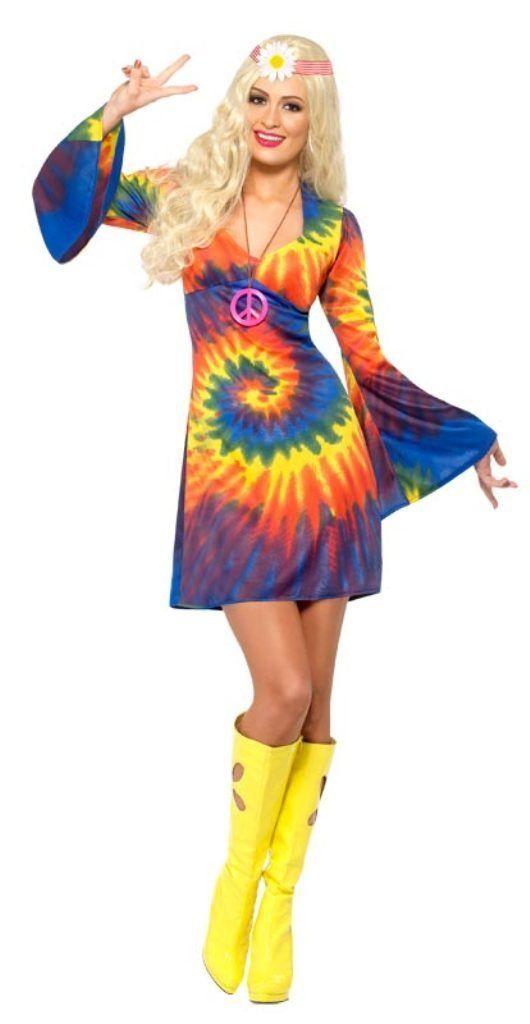 Smiffy\'s - 20741 60er 70er Jahre Batik Kleid für Damen Hippie Kostüm ...