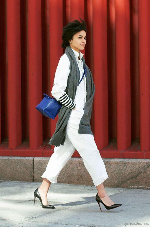 Ale Tarver, romper; Quality Mending Co., handbag; Phillip Lim, scarf; White & Warren, striped t-shirt; Edith A. Miller, shoes; Christian Louboutin / Garance Doré