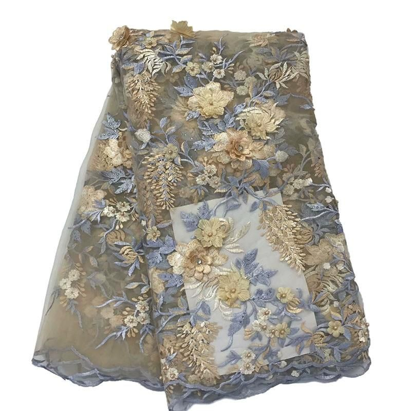 2019 3d Embroidery African Lace Fabrics Hot Selling Nigerian Lace Fabrics For Women New Style French Tulle Lace FabricHX1625-2 #nigeriandressstyles