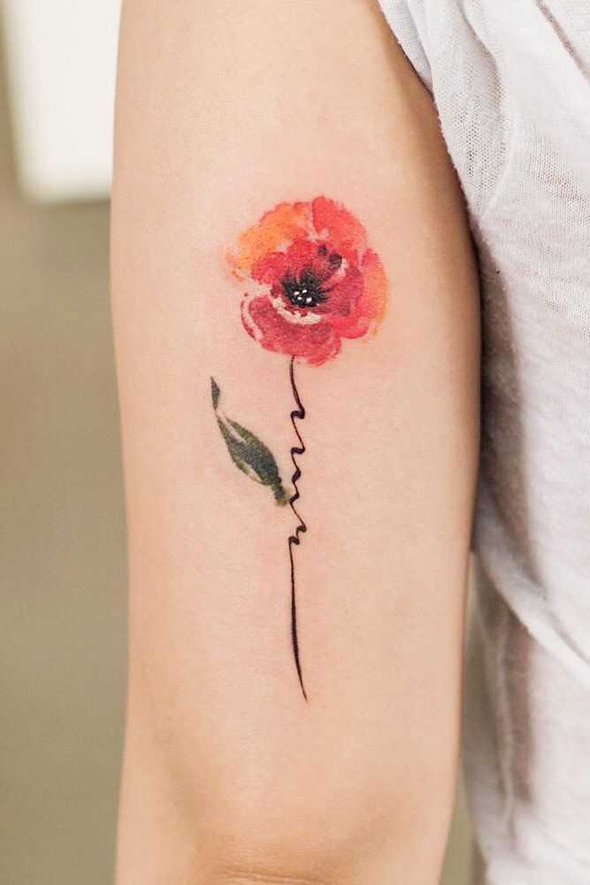 21 Flower Tattoos Designs And Meanings For Your Inspo Mohnblumen Tattoo Aquarell Blumen Tattoos Blumen Tattoo Designs
