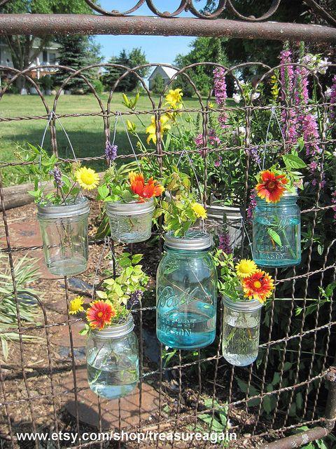Hook Top Flower Hangers 6 Diy Ball Mason Jar Hanging Flower Frog Lids Hanging Jars Mason Jar Flowers Rustic Garden Decor