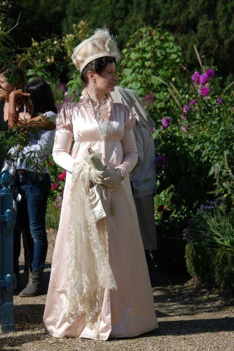 Malmaison 2012. Recreated pelisse in silk satin based on Costume Parisien fashion plate.
