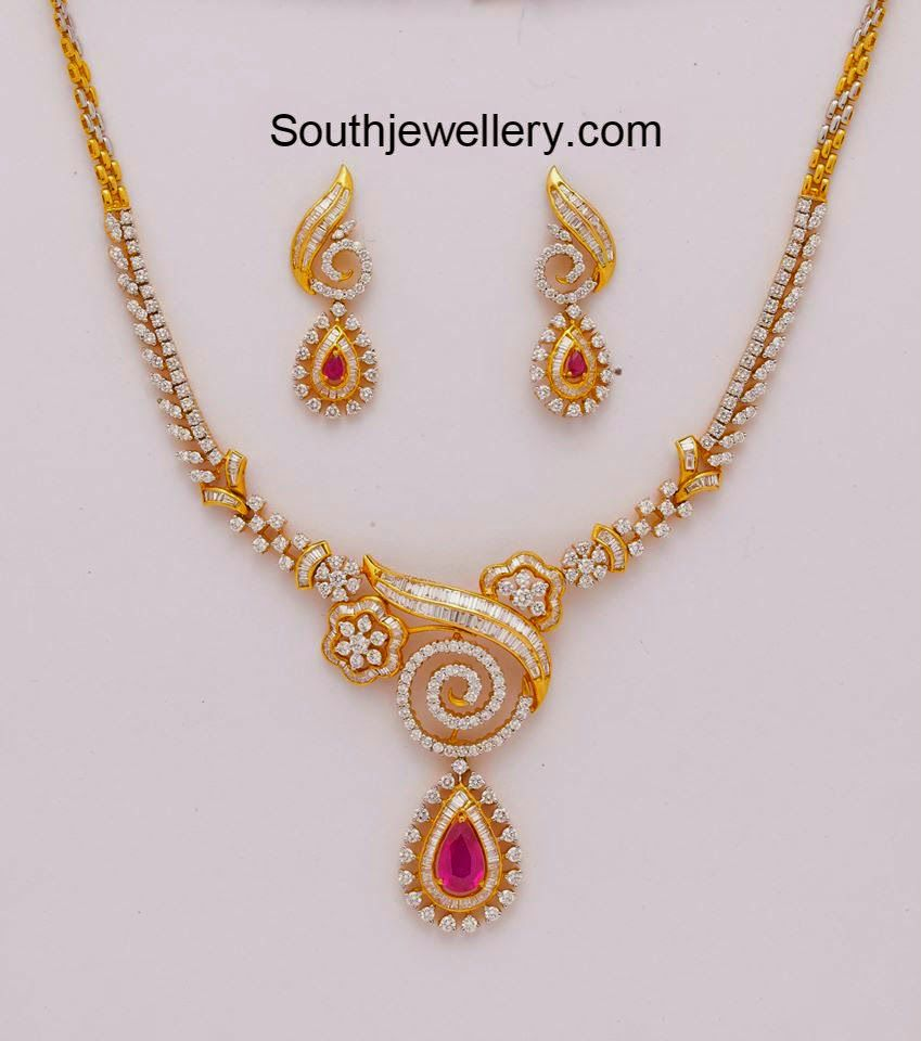 Gold necklace designs with price in rupees jewelry gallery - Ruby Necklace And Diamond Bracelet Jewellery Designs