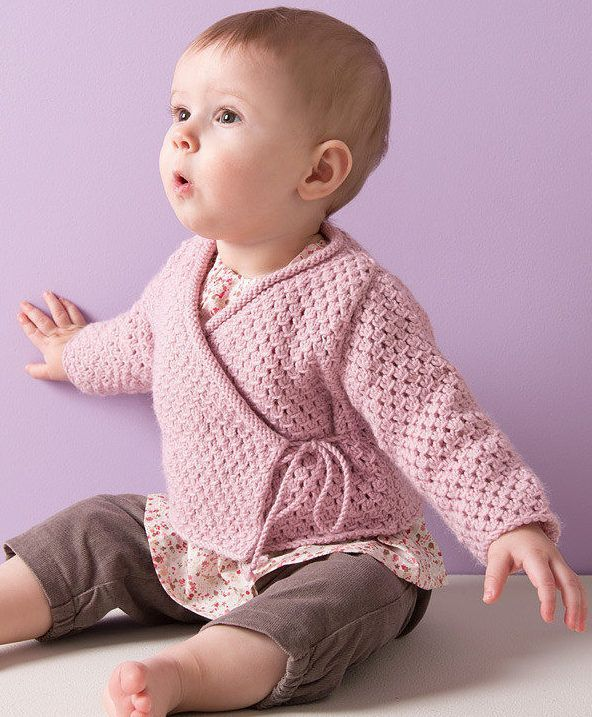 1f8a000c4 Free Knitting Pattern for 4 Row Repeat Baby Wrap Jacket - This ...