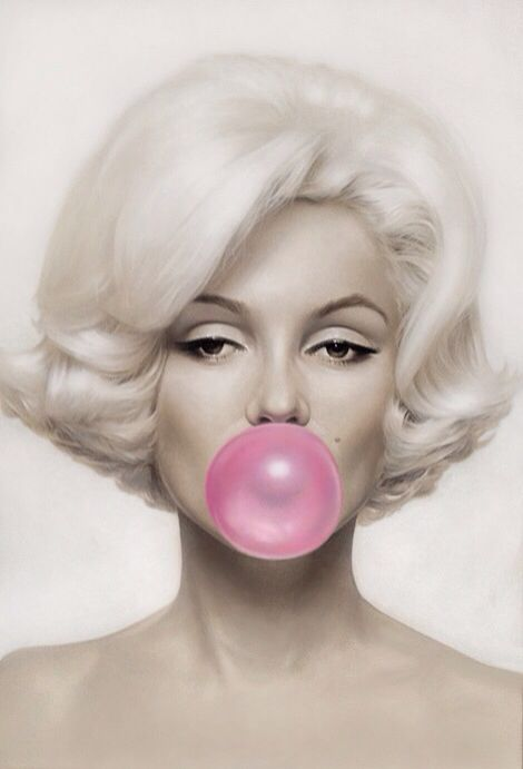 d7e42b3a6e2 Marilyn Monroe blowing a bubble with pink bubble gum art