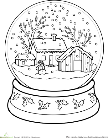 worksheets snow globe coloring page