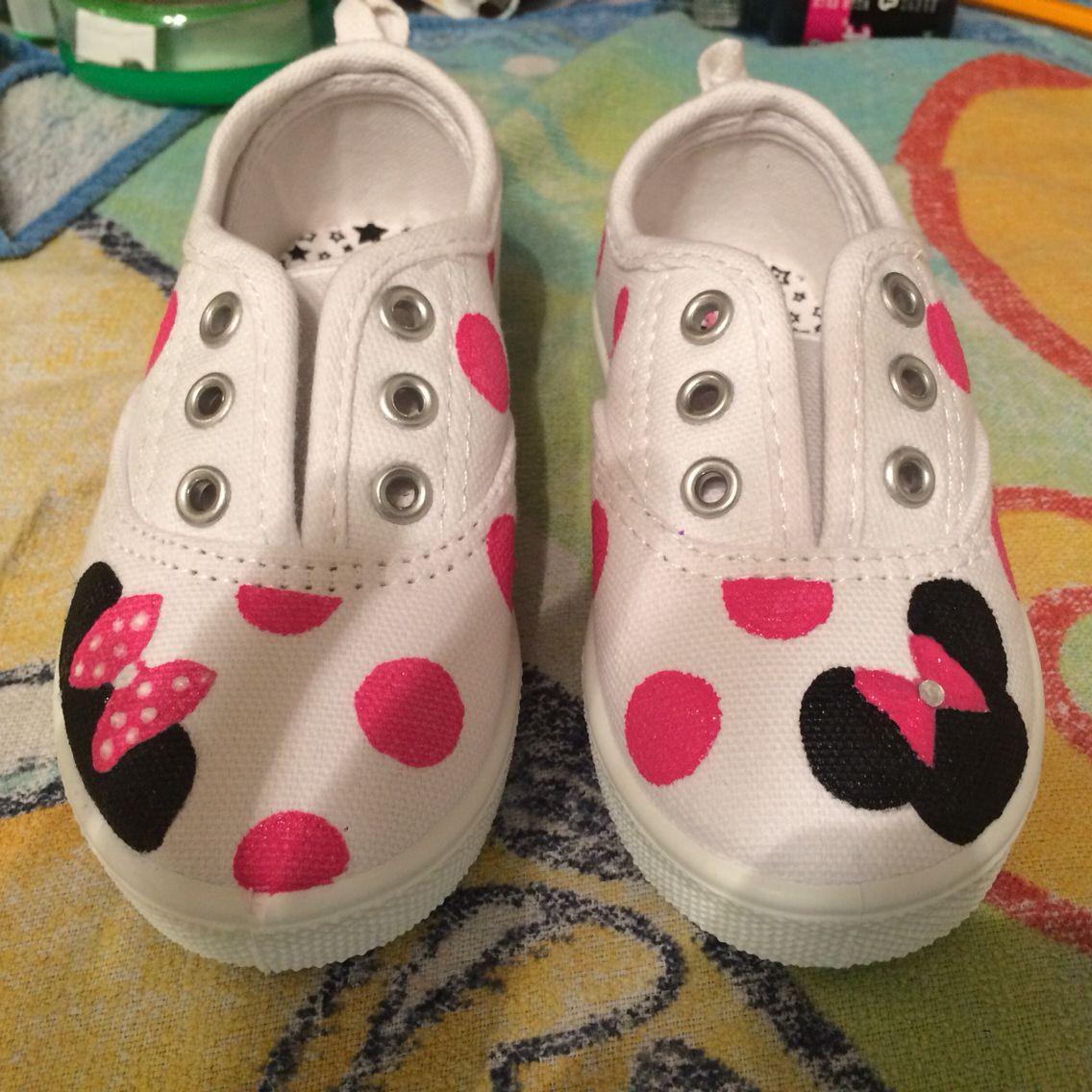 Painted Minnie Mouse Kids Canvas Shoes