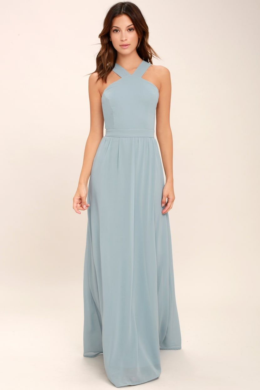 918bfeb0c89 Beautiful Light Blue Dress - Maxi Dress - Halter Dress