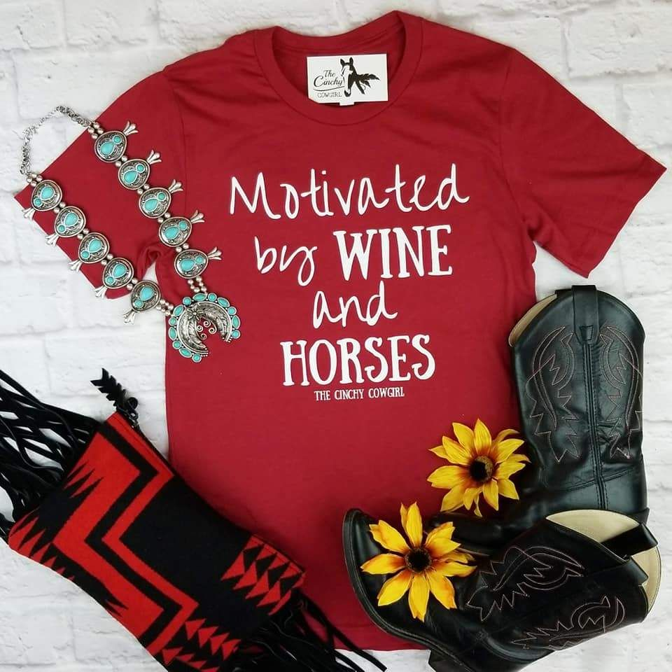 Motivated By Horses Wine Tee The Cinchy Cowgirl Wine Tees Tees Country Outfits