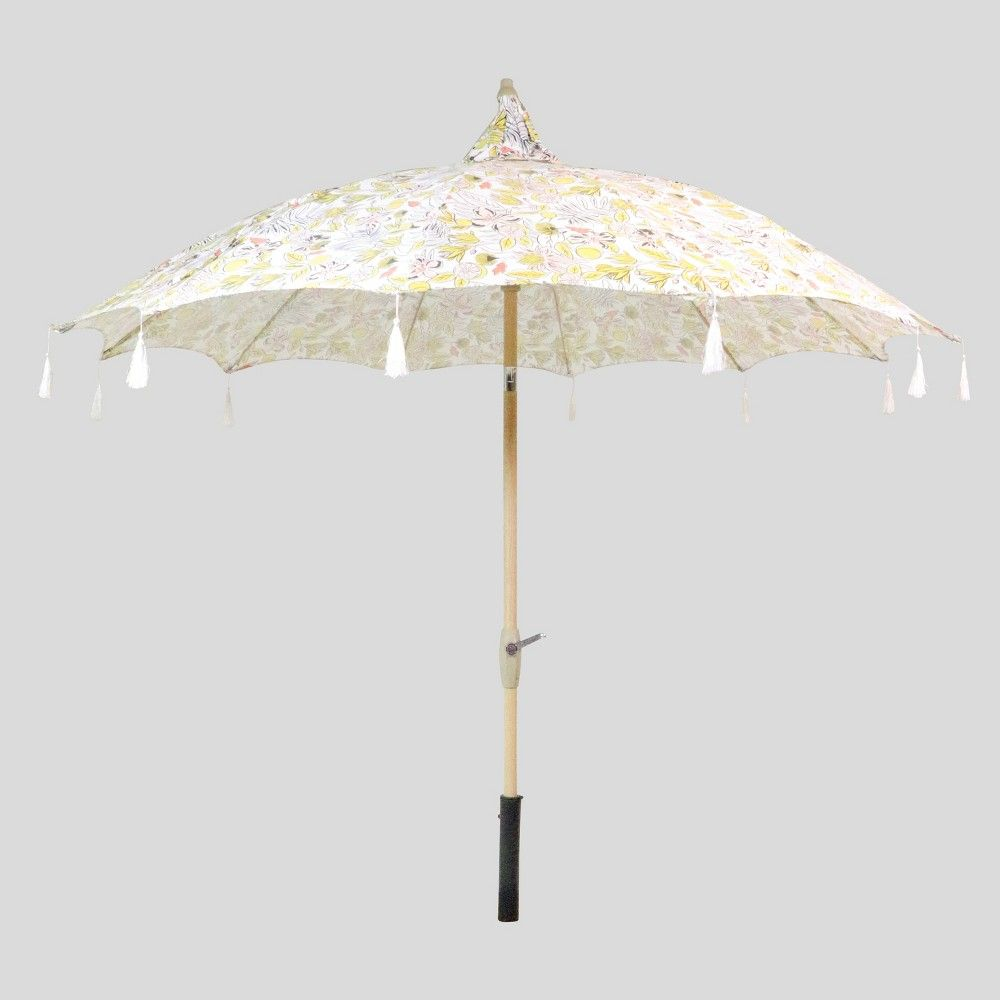 9 Round Fringed Patio Umbrella Linen Wood Pole Opalhouse Pagoda Patio Patio Umbrella Umbrella Patio umbrella with white pole