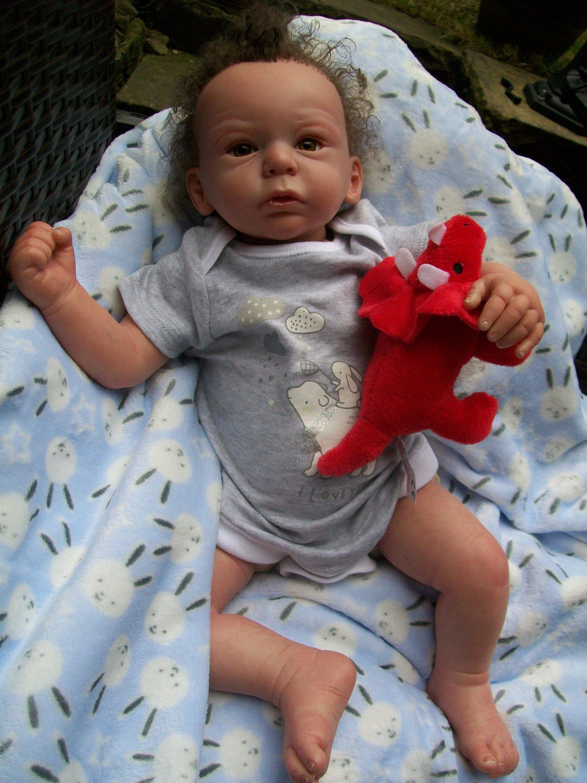 Reborn Baby Boy Harry Newborn Doll Brown Hair Hazel Eyes Ready