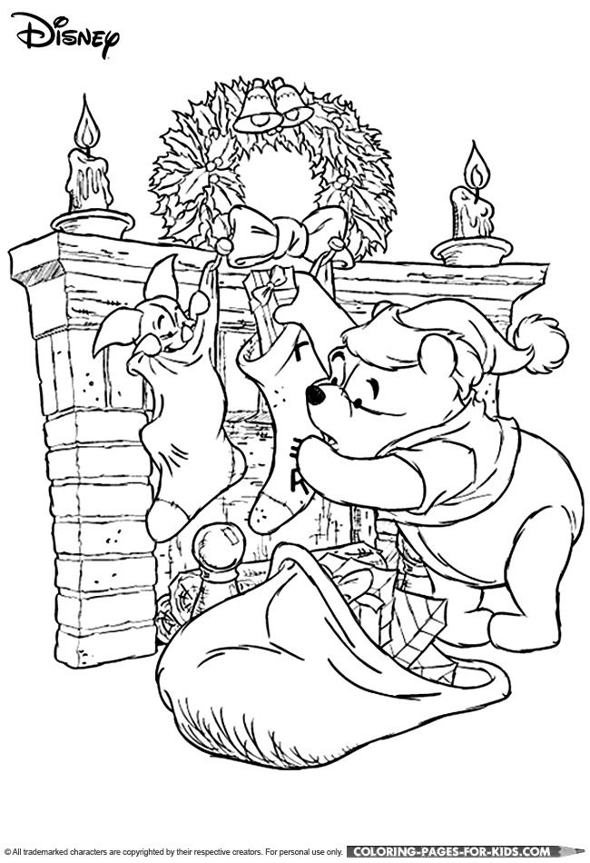 Winnie The Pooh Christmas Coloring Page Disney Coloring Pages Merry Christmas Coloring Pages Disney Colors