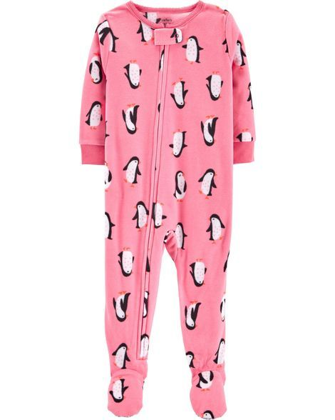 Carter/'s Winter Fleece Footed Sleeper Pajamas Polka Dot Penguin 18M