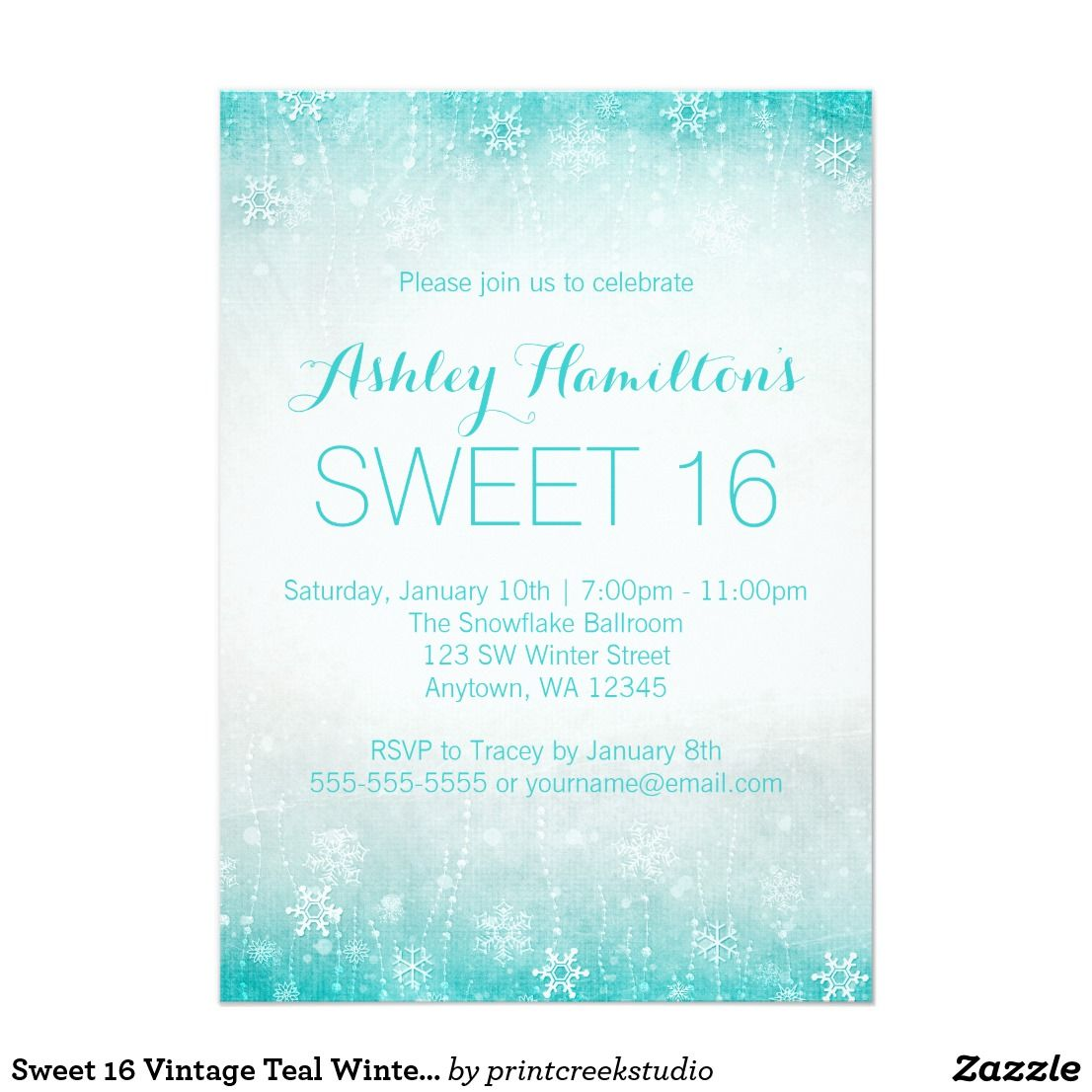 Sweet 16 Vintage Teal Winter Wonderland Card A Themed Birthday Party Invitation