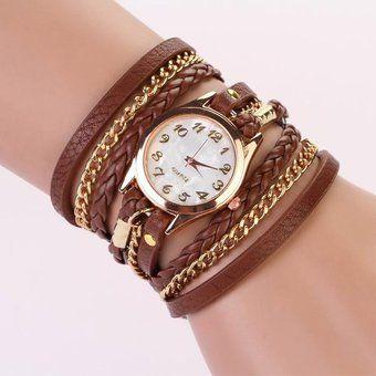 0ed21c6851a6 Trenzadas De Relojes Del Remache Pulsera-marrón