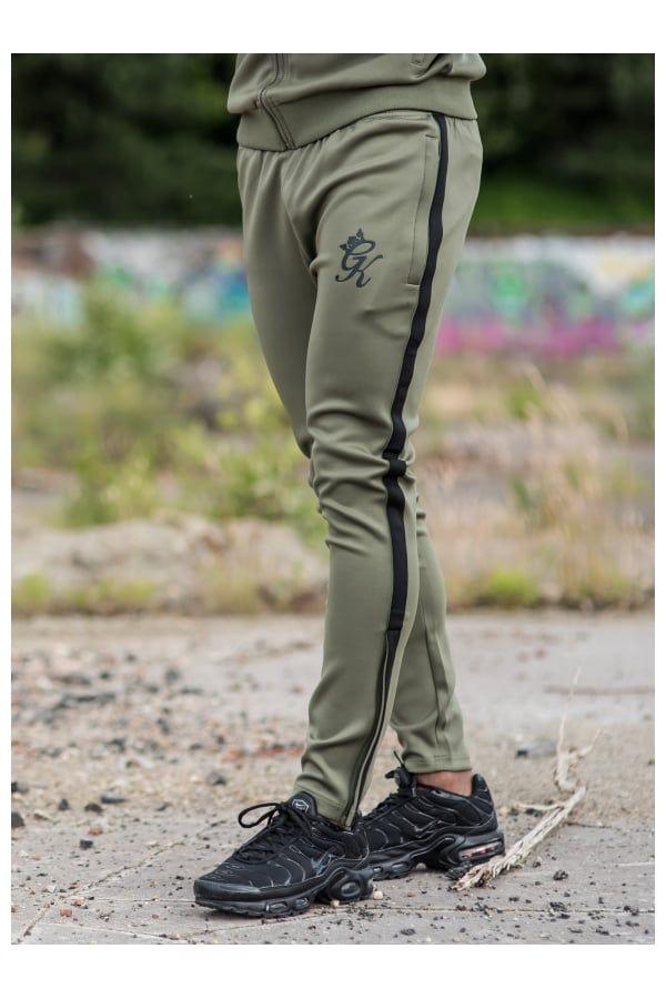 865854f2 Gym King Tapered Poly Tracksuit Bottoms - Khaki/Black   Fashion ...