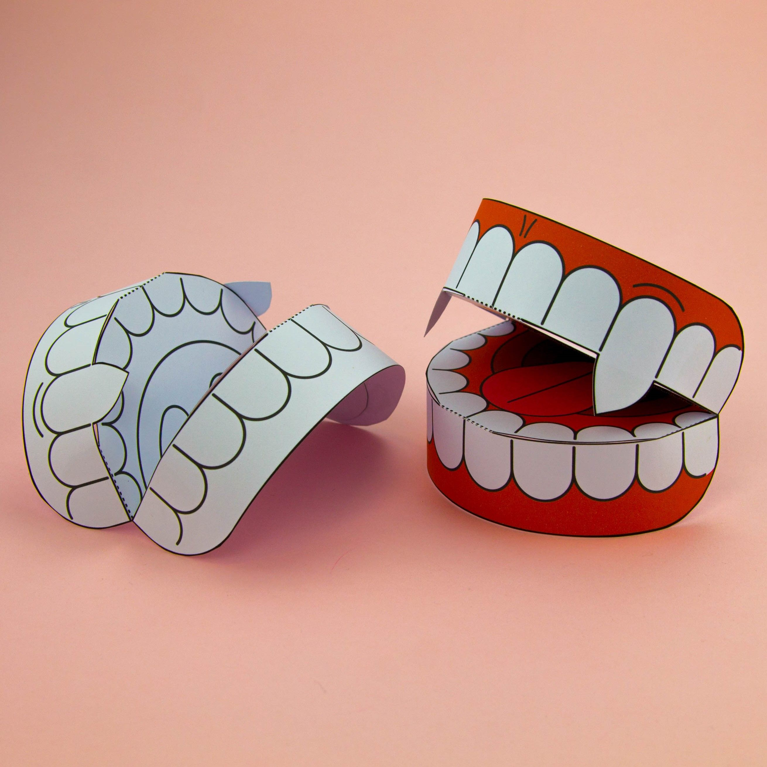 simple 3d halloween vampire teeth activity paper craft download template dracula party decoration